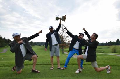 Winning foursome at the 2017 Hickory Dickory Decks Charity Golf Tournament.